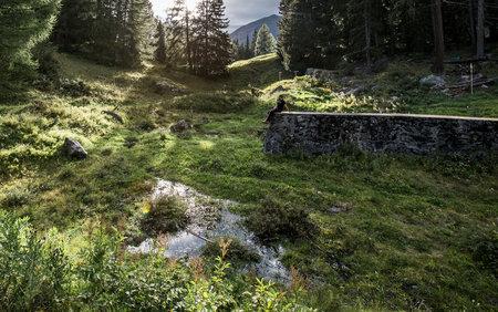 Remplir un ancien lac d'eau fraîche pour la baignade